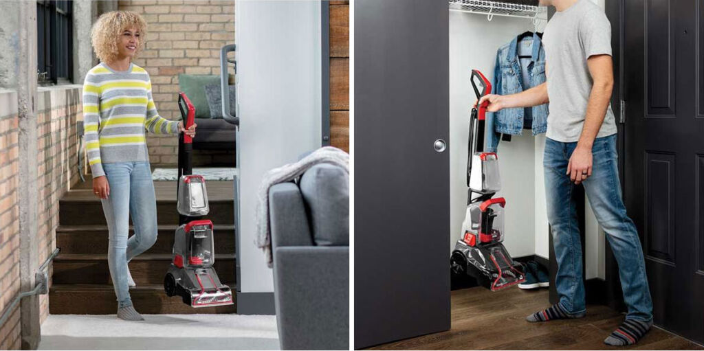 The light weight of the Bissell Powerclean makes transporting and storage simple