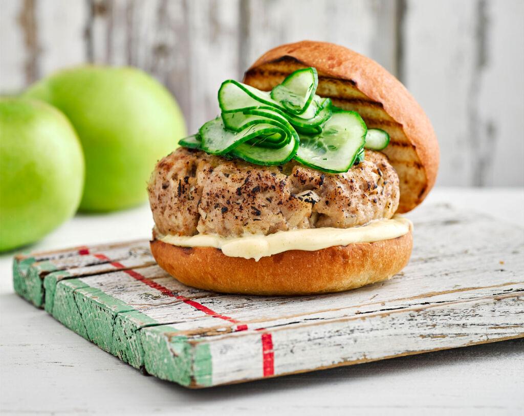 A Bramley Apple Burger with Mustard Mayo