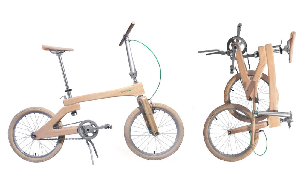 The Mentor folding bike ready to ride and folded for transporting