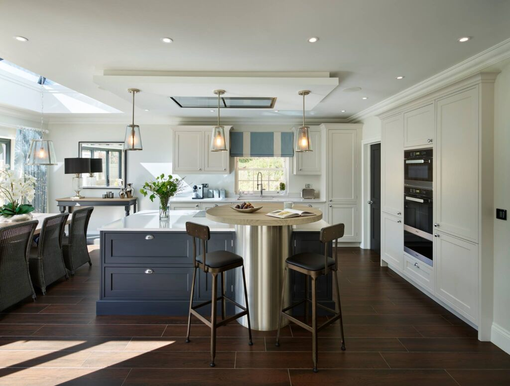 An island acting as a great focal point in an open plan bespoke designed kitchen