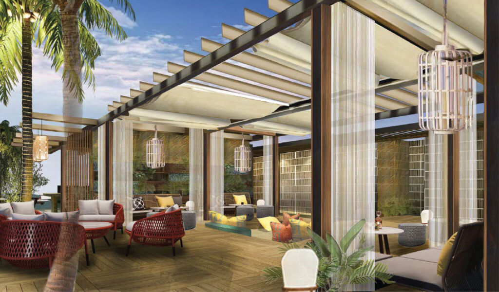 A rendering of the new sky lounge atop the tower