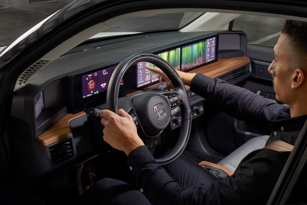 The incredible, wide electronic dashboard inside the Honda