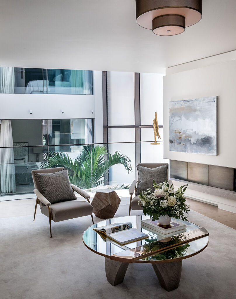 The beautiful living room interior in the W1 luxury townhouse