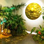 Gold coloured artwork at Natalia Kapchuk's The Lost Planet Exhibition