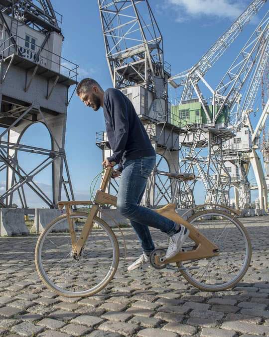 A man riding one of the Odysseus bikes