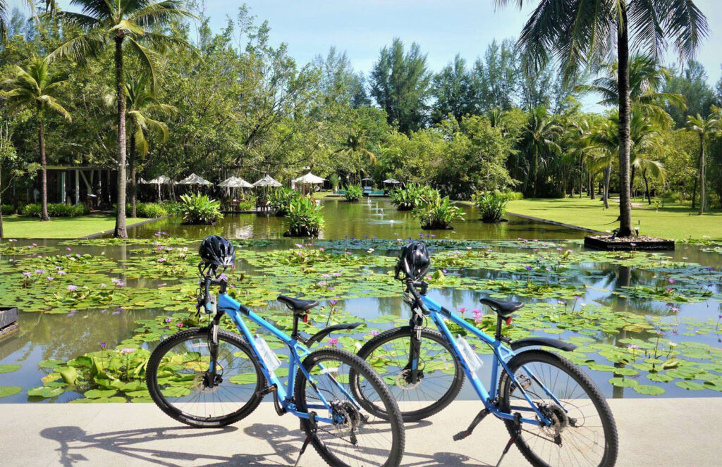 Bikes ready to be ridden at the resort