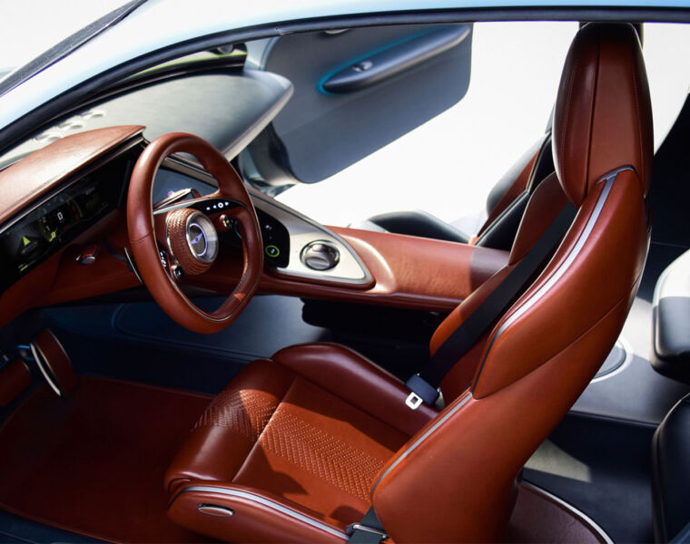 The interior of the Genesis X Concept which uses recycled materials in its build