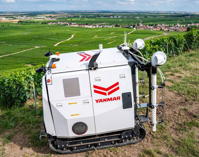 Yanmar's revolutionary YV01 Autonomous Spraying Robot for Vineyards