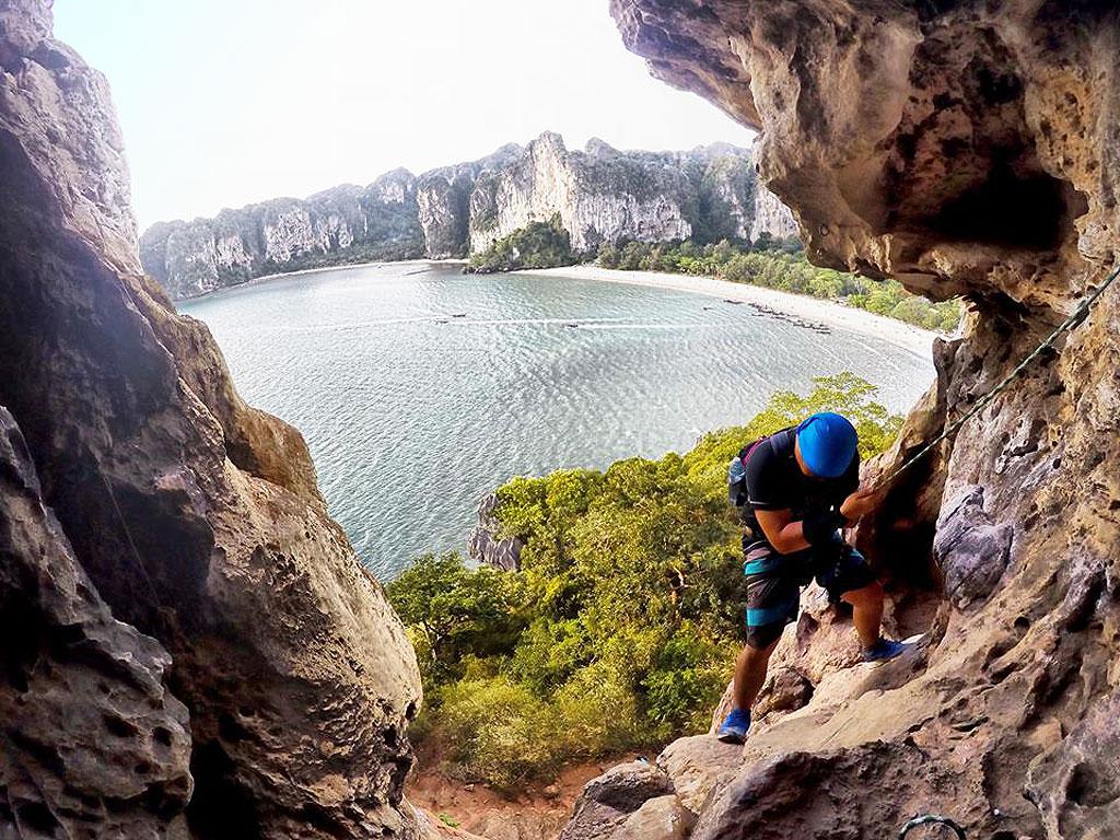 Rock climbing in Phang Nga Bay